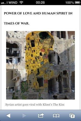 Il bacio di un paese in guerra